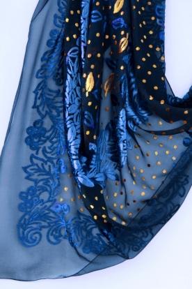 Carré façonné velours soie peint à la main - Daniel Vial