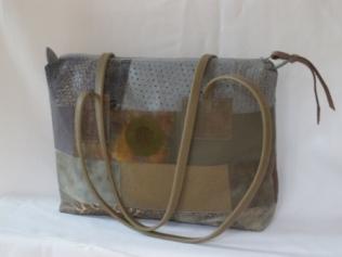 cabas patchwork rectangle gris beige