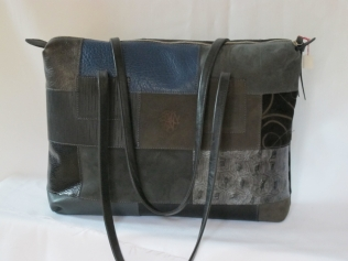 cabas patchwork rectangle noir gris ardoise